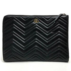 GUCCI Double G GG Marmont Quilted Pouch Case Clutc